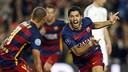 Suárez celebrting his brilliant goal against Bayer Leverkusen / MIGUEL RUIZ-FCB
