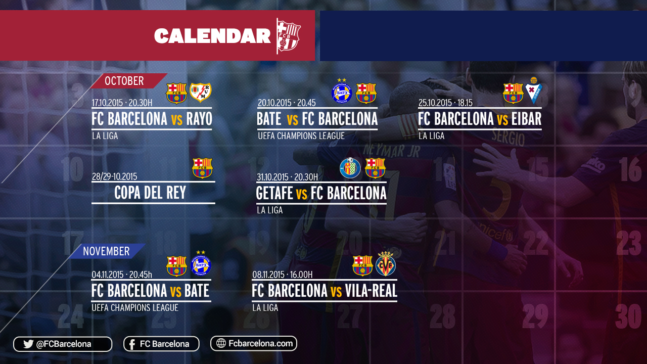 calendrier des rencontres du fc barcelone