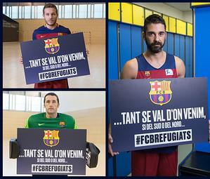 Els capitans de cadascun dels equips amb la imatge gràfica del projecte.