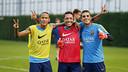 Neymar Jr, Adriano et Masip, après l'entrainement / MIGUEL RUIZ - FCB