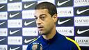 Gerard López, atendiendo a Barça TV antes del entrenamiento / VICTOR SALGADO-FCB