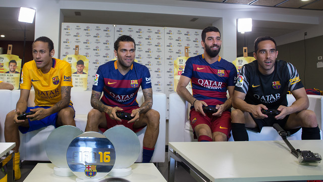FC Barcelona Players Take On Each Other At FIFA16