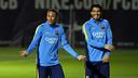 Luis Suárez and Neymar Jr. in training / MIGUEL RUIZ - FCB