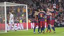 The Barça players celebrate a goal against BATE Borisov at the Camp Nou / VICTOR SALGADO - FCB