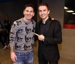 Leo Messi e Jorge Lorenzo no vestiário do Barça