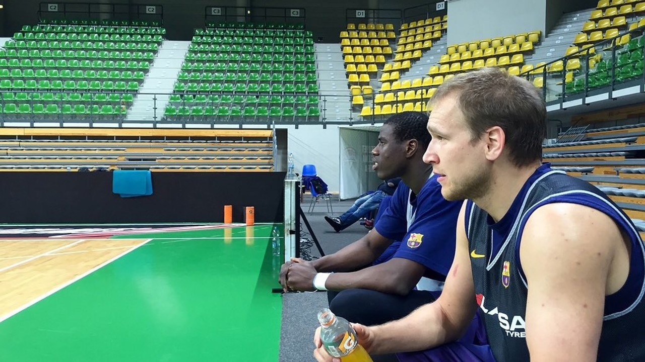Oleson i Diagné, a l'entrenament d'aquest dimecres per la tarda a Zielona Gora / Foto-FCB