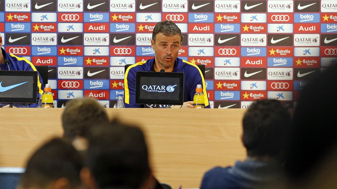 Luis Enrique durant la roda de premsa prèvia al partit contra el Villanovense / MIGUEL RUIZ - FCB