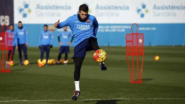 Jordi Alba during a training session this week / MIGUEL RUIZ - FCB