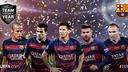 From left: Neymar, Dani Alves, Lionel Messi, Gerard Piqué and Andrés Iniesta / UEFA.COM