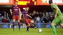Dani Romera debuted with Barça B on Saturday evening at the Mini Estadi. / VÍCTOR SALGADO - FCB