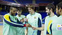 Jugadores del Barça de balonmano con las medallas conseguidas en el pasado europeo / FOTO:ARCHIVO-FCB