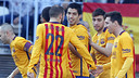 The team celebrates Munir's goal at Malaga / MIGUEL RUIZ - FCB
