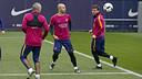Mascherano, Messi i Iniesta, en l'entrenament d'aquest matí / MIGUEL RUIZ - FCB