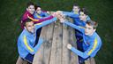 Leo Messi with the five youth team captains at La Masia / MIGUEL RUIZ - FCB
