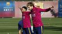 Rakitic et Alves, ce matin / MIGUEL RUIZ - FCB