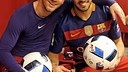 Leo Messi and Luis Suárez in the dressing room