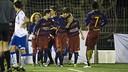L'Infantil B celebrant un gol en el torneig disputat a Argentona / PACO LARGO-FCB