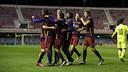 Barça B celebrating the opener against Levante / VICTOR SALGADO - FCB