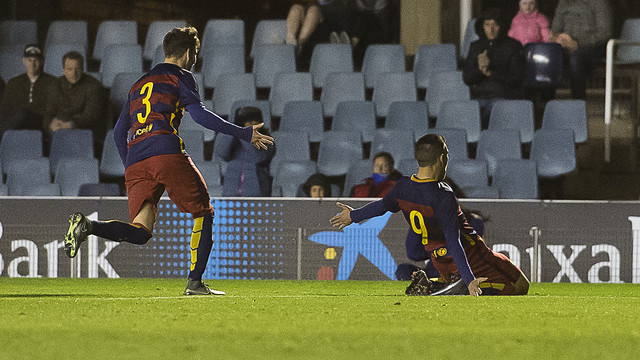 Dani Romera celebrates his goal / VICTOR SALGADO-FCB