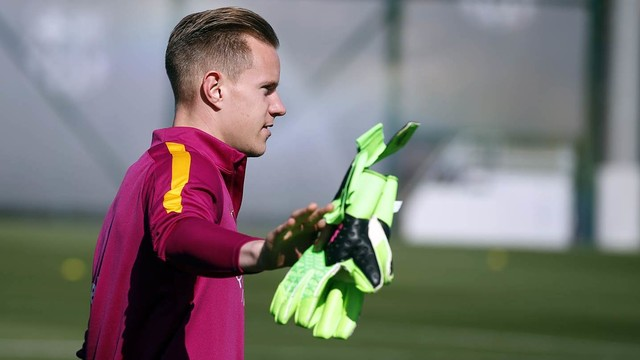 Goalkeeper Marc-André Ter Stegen has appeared in all of Barça's Champions League games this season. / MIGUEL RUIZ - FCB