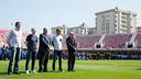 A minute's silence with Edmilson, Iniesta, Òscar Grau, Samper and Silvio Elías was observed / GERMÁN PARGA - FCB