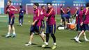 Suárez i Messi, a l'entrenament d'aquest dijous / MIGUEL RUIZ - FCB