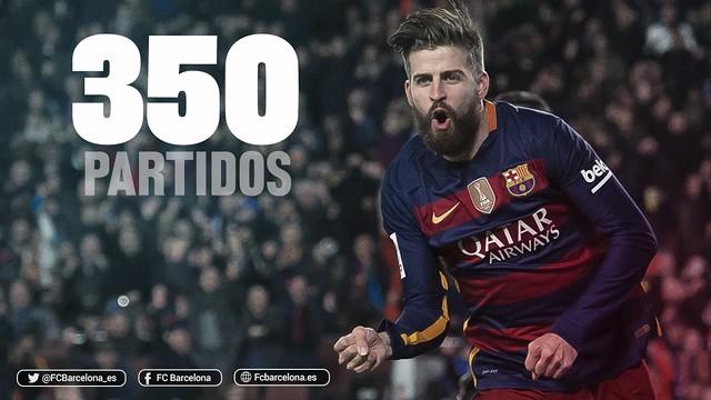 Gerard Piqué ha llegado a la cifra de 350 partidos disputados con el FC Barcelona / FCB