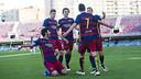 Los jugadores del Barça B celebrando un gol en el Miniestadi / VICTOR SALGADO-FCB