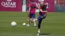 Andrés Iniesta, en el entrenamiento de este martes / MIGUEL RUIZ - FCB