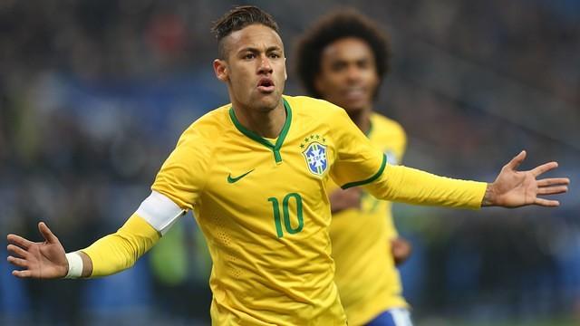 Neymar, comemorando um gol com o Brasil.