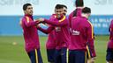Leo Messi, Suarez et Neymar à l'entraînement / MIGUEL RUIZ - FCB