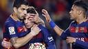 Le trio magique célèbre la victoire / MIGUEL RUIZ - FCB