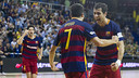 Dyego and Gabriel celebrate the opening goal / VICTOR SALGADO - FCB