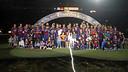 L'equip al complet en acabar la celebració del doblet / MIGUEL RUIZ - FCB