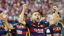 Jordi Alba celebrates Copa del Rey final at Vicente Calderón / VICTOR SALGADO - FCB