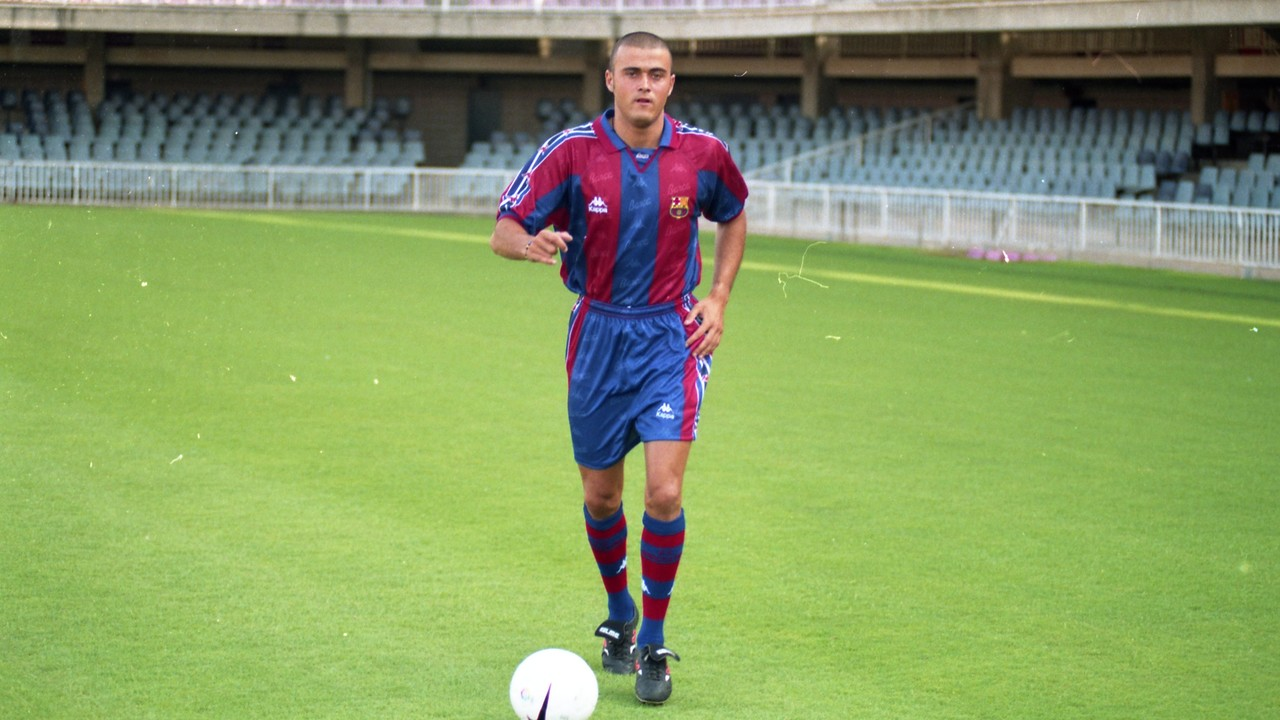 Luis Enrique on the day of his official presentation as an FC Barcelona player /  FCB ARCHIVE