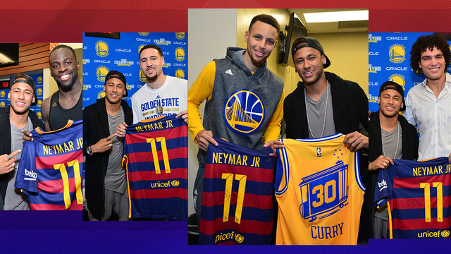Neymar visited Curry, Thompson, Green and Varejao, stars of the Golden State Warriors