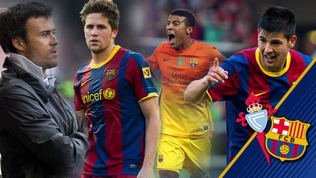 Luis Enrique, Fontàs, Rafinha y Nolito, durante su estancia en el Barça